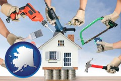 home improvement concepts and tools - with Alaska icon
