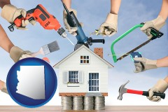 home improvement concepts and tools - with AZ icon