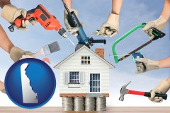 home improvement concepts and tools - with Delaware icon