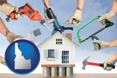 home improvement concepts and tools - with ID icon
