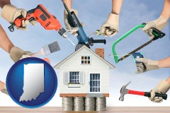 home improvement concepts and tools - with IN icon