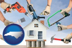 home improvement concepts and tools - with NC icon