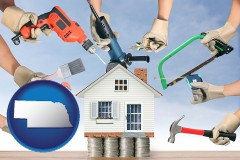 home improvement concepts and tools - with Nebraska icon