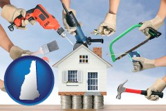 home improvement concepts and tools - with New Hampshire icon