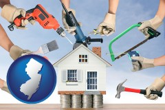 home improvement concepts and tools - with NJ icon
