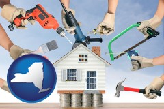 home improvement concepts and tools - with NY icon