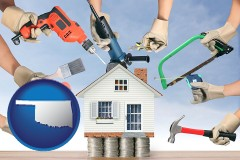 home improvement concepts and tools - with OK icon