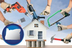 home improvement concepts and tools - with OR icon