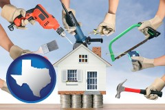 home improvement concepts and tools - with Texas icon