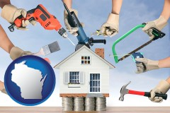 home improvement concepts and tools - with WI icon