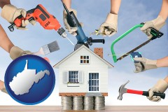 home improvement concepts and tools - with WV icon