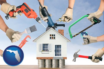 home improvement concepts and tools - with Florida icon