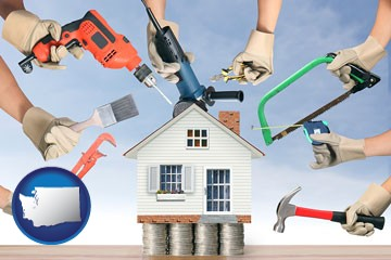 home improvement concepts and tools - with Washington icon