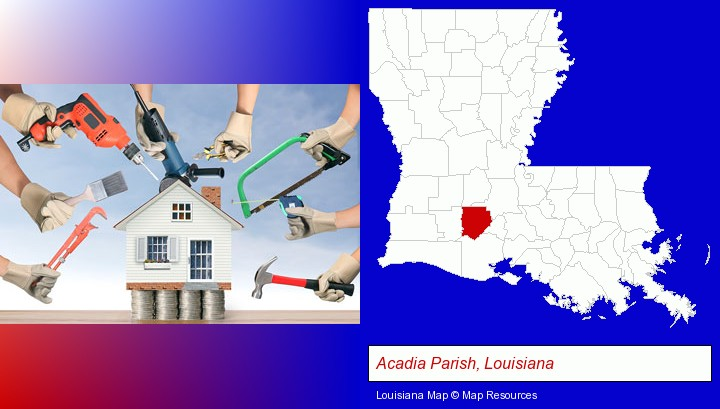 home improvement concepts and tools; Acadia Parish, Louisiana highlighted in red on a map