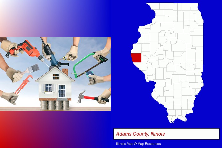 home improvement concepts and tools; Adams County, Illinois highlighted in red on a map