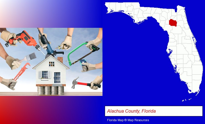 home improvement concepts and tools; Alachua County, Florida highlighted in red on a map