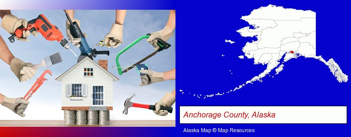 home improvement concepts and tools; Anchorage County, Alaska highlighted in red on a map