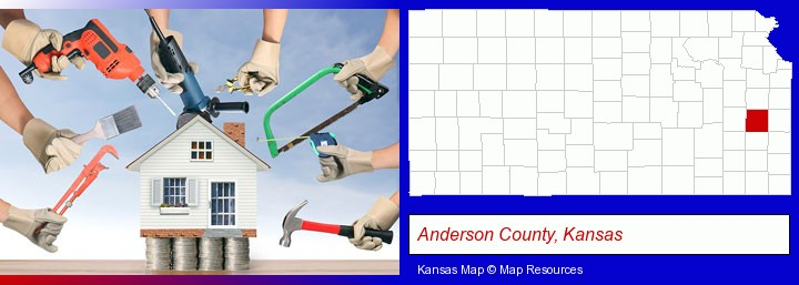 home improvement concepts and tools; Anderson County, Kansas highlighted in red on a map