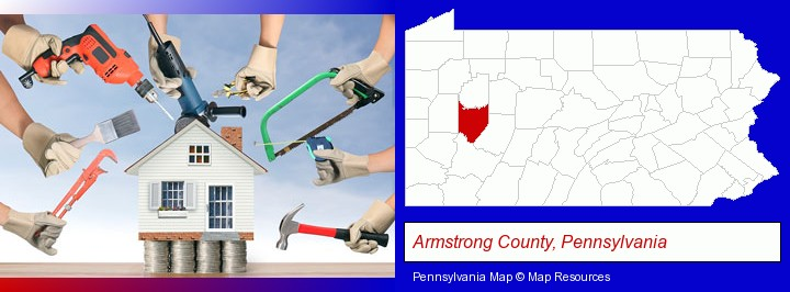 home improvement concepts and tools; Armstrong County, Pennsylvania highlighted in red on a map