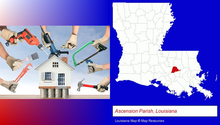 home improvement concepts and tools; Ascension Parish, Louisiana highlighted in red on a map