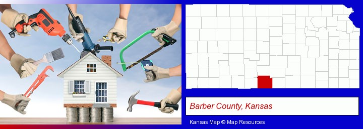 home improvement concepts and tools; Barber County, Kansas highlighted in red on a map