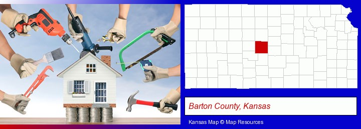 home improvement concepts and tools; Barton County, Kansas highlighted in red on a map