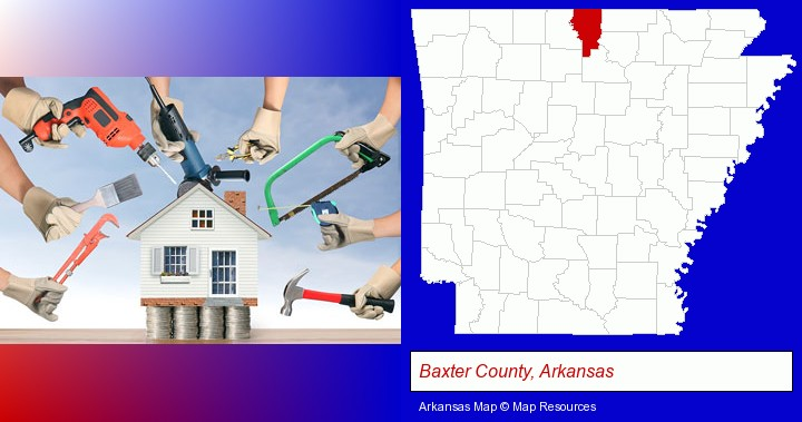 home improvement concepts and tools; Baxter County, Arkansas highlighted in red on a map