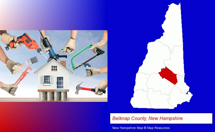 home improvement concepts and tools; Belknap County, New Hampshire highlighted in red on a map