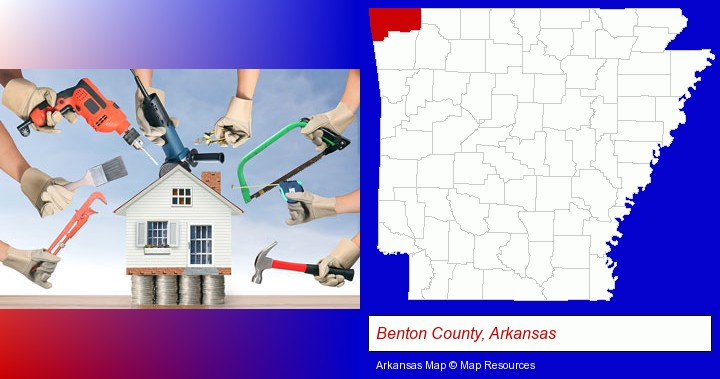 home improvement concepts and tools; Benton County, Arkansas highlighted in red on a map