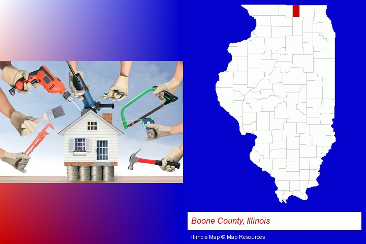 home improvement concepts and tools; Boone County, Illinois highlighted in red on a map