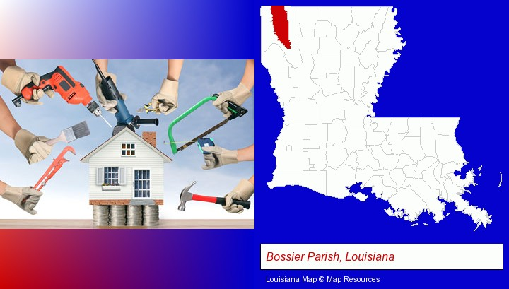 home improvement concepts and tools; Bossier Parish, Louisiana highlighted in red on a map