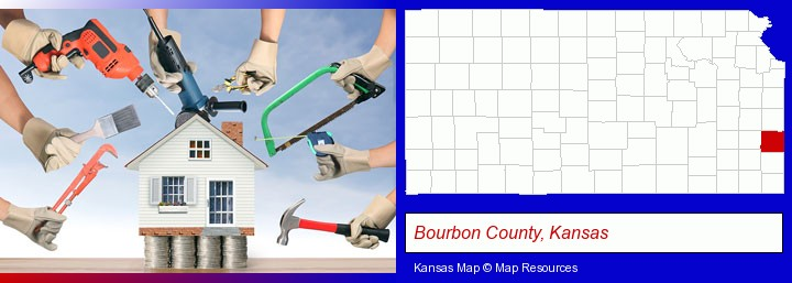 home improvement concepts and tools; Bourbon County, Kansas highlighted in red on a map