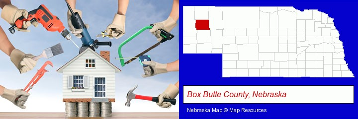 home improvement concepts and tools; Box Butte County, Nebraska highlighted in red on a map