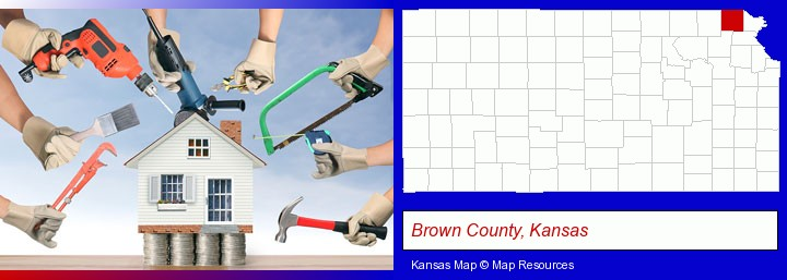 home improvement concepts and tools; Brown County, Kansas highlighted in red on a map