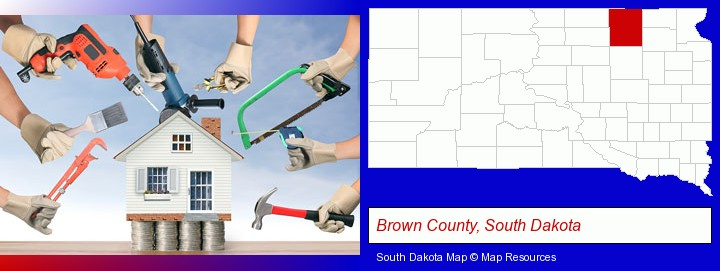 home improvement concepts and tools; Brown County, South Dakota highlighted in red on a map