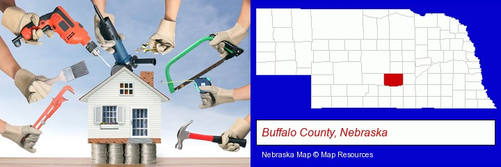 home improvement concepts and tools; Buffalo County, Nebraska highlighted in red on a map