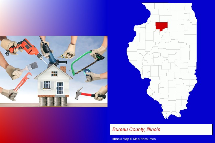 home improvement concepts and tools; Bureau County, Illinois highlighted in red on a map