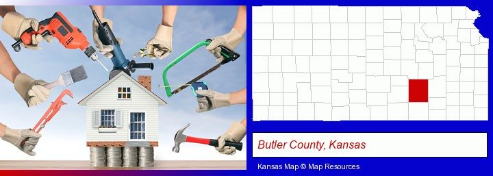 home improvement concepts and tools; Butler County, Kansas highlighted in red on a map