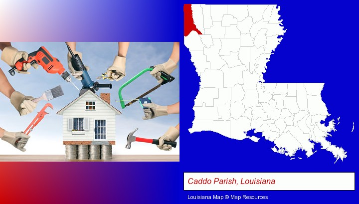 home improvement concepts and tools; Caddo Parish, Louisiana highlighted in red on a map