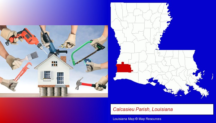 home improvement concepts and tools; Calcasieu Parish, Louisiana highlighted in red on a map