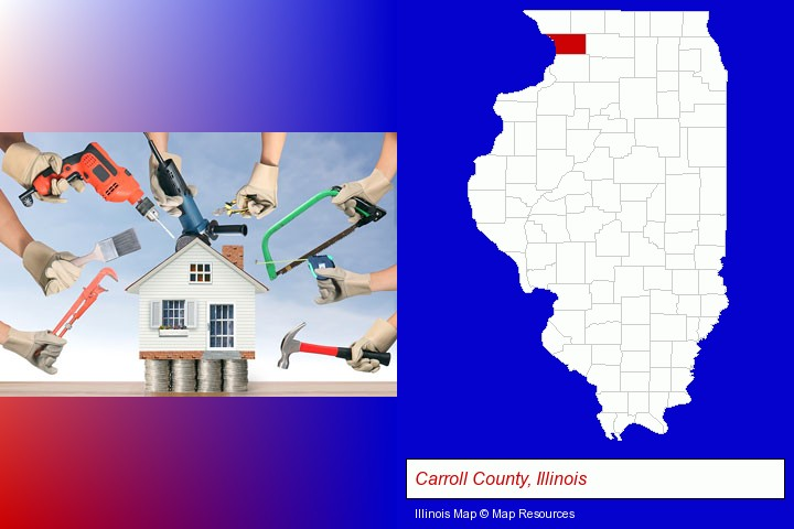 home improvement concepts and tools; Carroll County, Illinois highlighted in red on a map