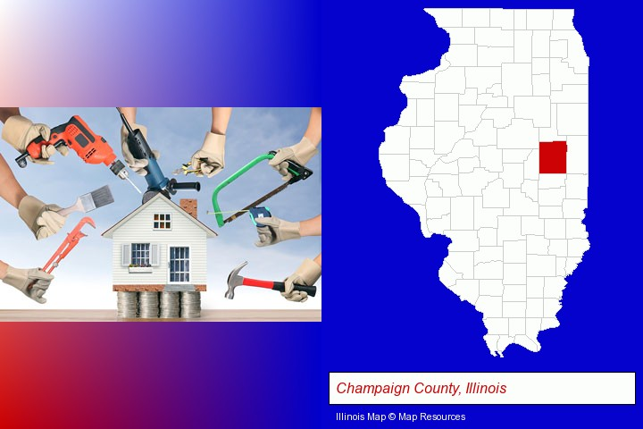 home improvement concepts and tools; Champaign County, Illinois highlighted in red on a map