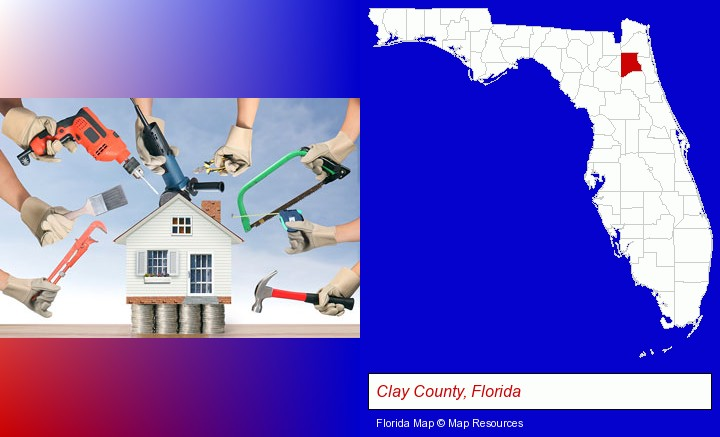 home improvement concepts and tools; Clay County, Florida highlighted in red on a map