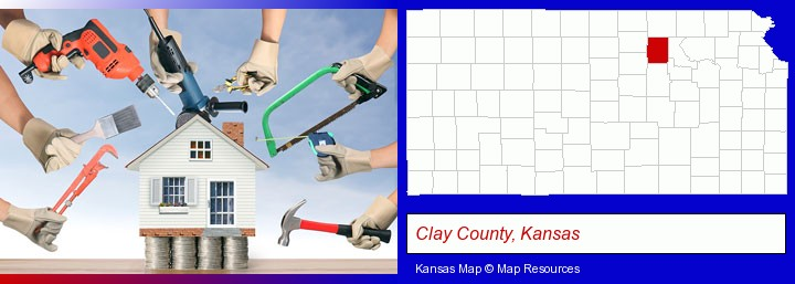 home improvement concepts and tools; Clay County, Kansas highlighted in red on a map