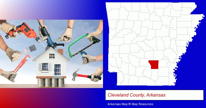 home improvement concepts and tools; Cleveland County, Arkansas highlighted in red on a map
