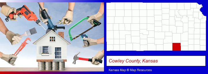 home improvement concepts and tools; Cowley County, Kansas highlighted in red on a map