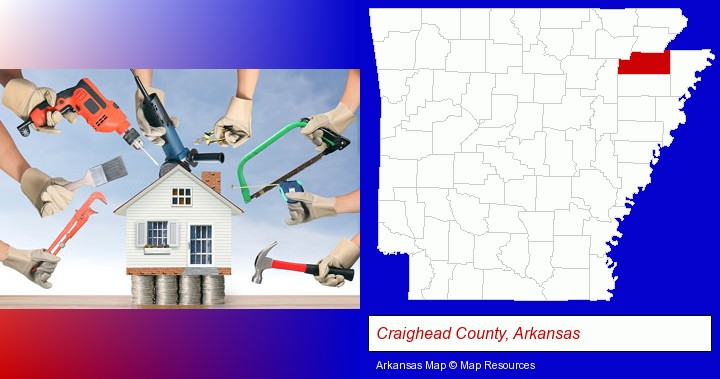 home improvement concepts and tools; Craighead County, Arkansas highlighted in red on a map