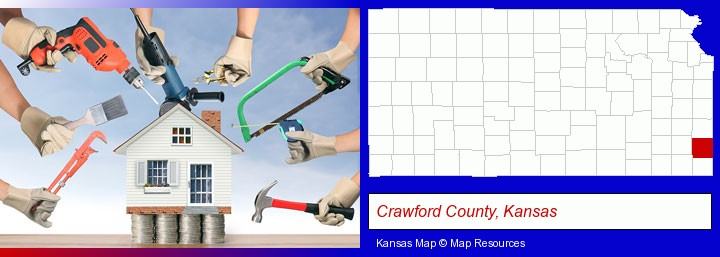 home improvement concepts and tools; Crawford County, Kansas highlighted in red on a map