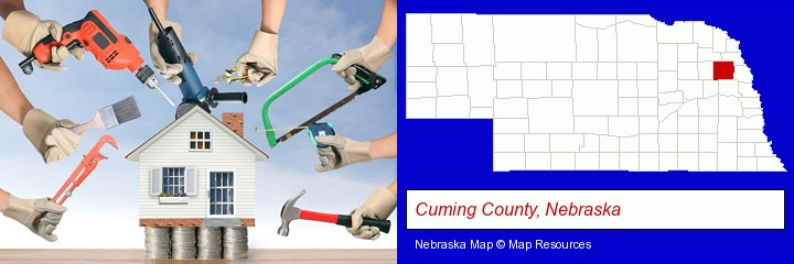 home improvement concepts and tools; Cuming County, Nebraska highlighted in red on a map