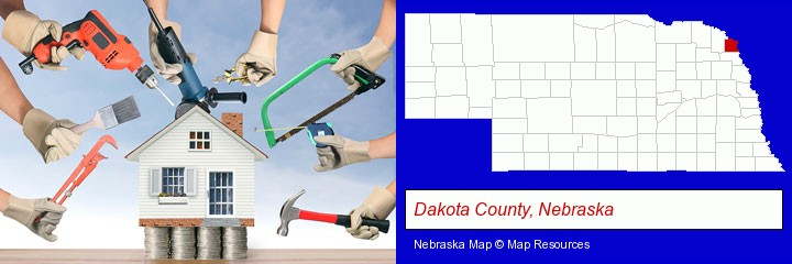 home improvement concepts and tools; Dakota County, Nebraska highlighted in red on a map